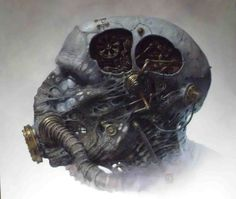 Biomechanical Head by ~22zddr on deviantART #punk #machine #robot #head #fi #sci #steam #illustration #biomechanical