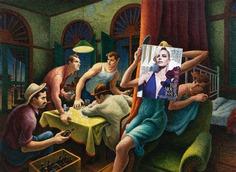 Poker Night. Charlize Theron, W February 2012 + Poker Night by Thomas Hart Benton