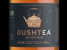 Bushtea Spiced Rum #rum #england #bottle #spirits #packaging #craft #black #gold #foil