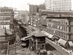 Wabash Avenue El: 1907 | Shorpy Historic Photo Archive #train #1900 #chicago #white #el #black #archive #wabash #shorpy #and #historic