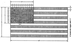 Proper proportions of an American flag.