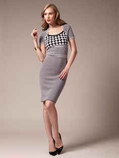 Escada Wool Knit Houndstooth Dress #houndstooth #dress #pattern #knit
