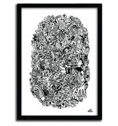 Doodle Float Black and White by Lei Melendres #print #art