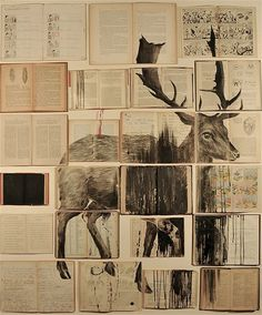 Ekaterina Panikanova paintings #deer #books #illustration #mixed #media