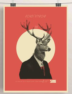 SHOW-BILL en Behance #deer #illustration #vintage #poster #art #animal #moon