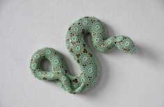 "Joana Vasconcelos Crochets A Crafty Second ""Skin"" For Ceramic Animals #beauty #sculpture #pattern #jade #coil #snake #reptile #ceramic #animal #green"