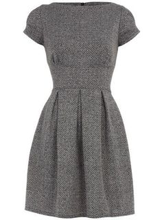 Classic Tweed Dress #classic #fashion #dress #tweed #grey