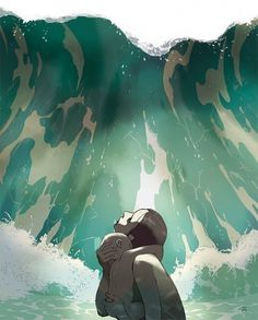 """Swallowed By the Sea"" by Tomer Hanuka #woman #atlantis #water #hanuka #dirk #tomer #child #wave #illustration #bar #newsweek"