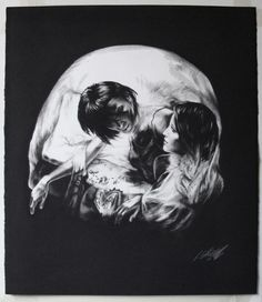 Skull no1. Tom French is a UK based contemporary... - Designers Go To Heaven #white #black #illustration #and #skull