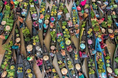 High Angle View Of Food In Boat Over Lake