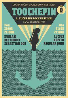 Toochepin Rock Festival Poster by Ivorin Vrkaš #guitar #croatia #festival #tuepi #negative #rock #design #space #phosphorescent #silhouette #poster #music