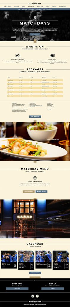 Chelsea FC & Marco Grill  Website design