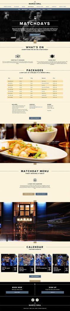 Chelsea FC & Marco Grill Website design
