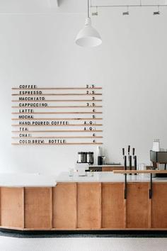 Menu board at Passenger Coffee's new Coffee Bar & Tea Room