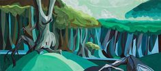 """The Sword in the Stone"" (1963) background concept painting. Click to enlarge. (via Andreas Deja.) #walt peregoy #disney #painting #backgrou"