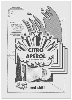CITRO APEROL #poster #screen print #black and white #collage #xerox