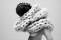 http://www.nannavanblaaderen.com/i #girl #photography #black and white #naked #woman #sexy #wool #scarf