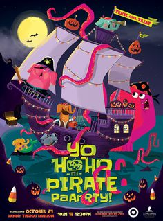 Yohoho_poster #halloween #illustration #pirates #pumpkins #party
