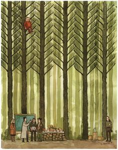 Concentrating on the Js print by Scott C (SOLD OUT) #forest #illustration #trees
