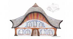 Architecture surrealistic house drawing