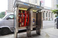 John Locke creative phone booth libraries in one #phone #public #booth #art #street #exterior #telephone