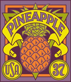 Michael Doret - 12 Years in the Making: Fruit & Vegetable Stamps for the USPS #stamps #usps #usa #pineapple #fruit #exotic #37 #purple #yell