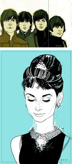 Awesome Digital Illustrations By Phill Noto #illustration #sketch #portrait #audrey #tiffanys