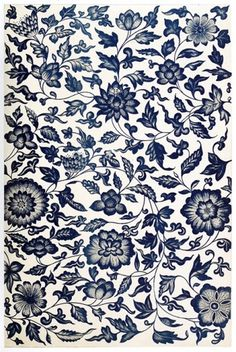 coqueterías - oldbookillustrations: From a blue and white... #blue #pattern #floral