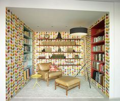 Art decor wallpaper in library #interior #painting #art #kids #apartment #room