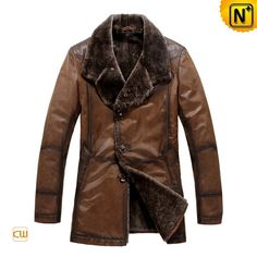 Leather Shearling Lined Coat CW819072 - cwmalls.com