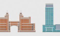 Illustrations of buildings Astana