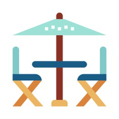 See more icon inspiration related to furniture and household, terrace, sun umbrella, chairs, umbrella, table and restaurant on Flaticon.