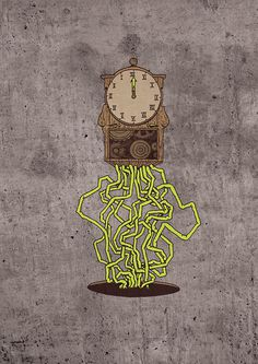 Horloge #illustration #organic #clock #sketch #drawing #digital #mecanic