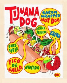 Hot Dog Of The Week: Tijuana Dog | Serious Eats #typography #food #hot #illustration #dog