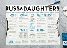Russ & Daughters Menu #typography #restaurant #graphic design #print
