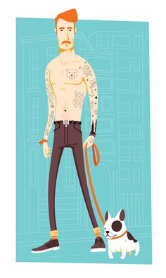 Tattooed guy #tatto #illustration #guy #dog