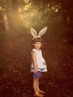 . #girl #photo #retro #child #forest #rabbit