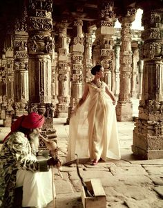 Norman Parkinson - The Pillars of Quwwat- Ul-Islam Mosque at dusk - Photos - Photohab - Photographer's Portfolios #fashion #photography #inspiration