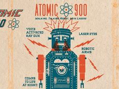 Dribbble - Atomic 2 by Dustin Wallace #reproduction #illustration #vintage #typography
