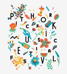 Merchandise and signage graphic for the 2013 Pitchfork Music Festival by Tim Lahan
