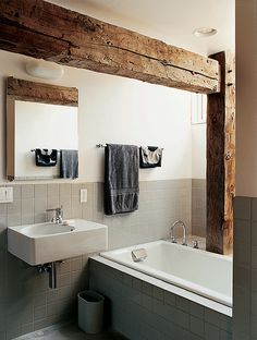 Super cool bathroom with a rustic touch. #interior #bath #minimalistic #rustic #wood #grey