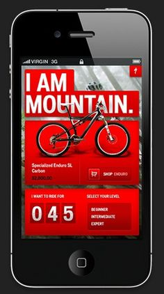 Specialized bikes iphone app design #iphone #app #web
