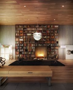 Cutt #interior design #wood #books #bookshelf