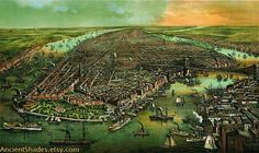Bird's eye view of New York RETRO print on by AncientShades #new #vintage #york #view #tork
