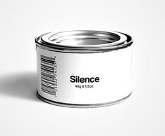 pod0037-can-of-silence.jpg 605×500 pixels #type #minimalist #white #label