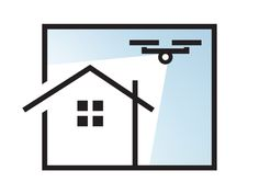 An illustrative icon concept for a residential property aerial videography company in Auckland, New Zealand called Property Clips New Zealan