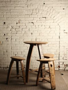 Bourbon Barrel Table and Stools from Jason Cohen Wood Artisan and Bourbon #interior #chair #stool #wood #table
