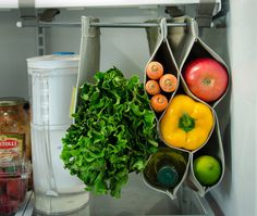 Fabrack is an expandable, hanging storage solution for the refrigerator, that prevents food from being crushed or forgotten. #veggie #vegetable #fruit #food #product #kickstarter #produce #organization