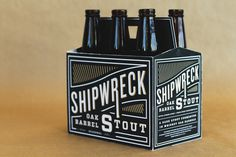 "Zia Somjee  |   http://ziasomjee.com""The ""Shipwreck Oak Barrel Stout"" reflects the unique blend of flavours, textures, and tastes t #beer #lettering #lines #branding #packaging #design #graphic #logo"