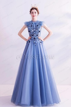 eDressit New Blue High Neck Embroidery Party Evening Dress (36224805)